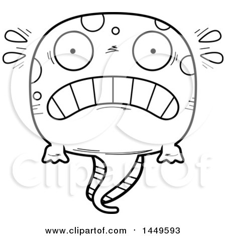 Clipart Graphic of a Cartoon Black and White Lineart Scared Tadpole Pollywog Character Mascot - Royalty Free Vector Illustration by Cory Thoman