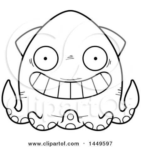 Clipart Graphic of a Cartoon Black and White Lineart Grinning Squid Character Mascot - Royalty Free Vector Illustration by Cory Thoman