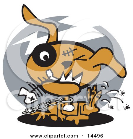 Neglected Dog on a Chain, Eating Fishbones and Itching Fleas Clipart Illustration by Andy Nortnik