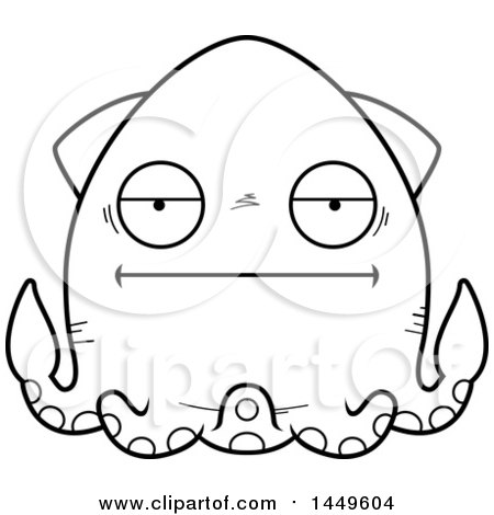Clipart Graphic of a Cartoon Black and White Lineart Bored Squid Character Mascot - Royalty Free Vector Illustration by Cory Thoman