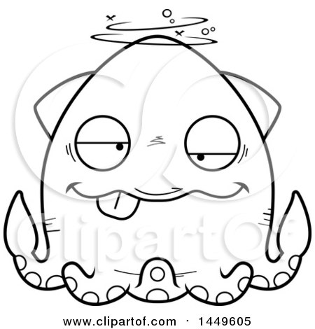 Clipart Graphic of a Cartoon Black and White Lineart Drunk Squid Character Mascot - Royalty Free Vector Illustration by Cory Thoman