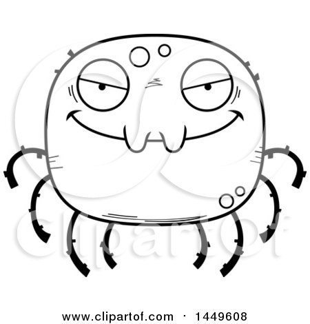 Clipart Graphic of a Cartoon Black and White Lineart Evil Spider Character Mascot - Royalty Free Vector Illustration by Cory Thoman