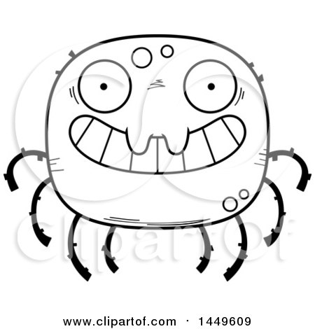 Clipart Graphic of a Cartoon Black and White Lineart Grinning Spider Character Mascot - Royalty Free Vector Illustration by Cory Thoman