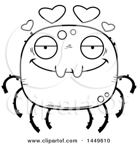 Clipart Graphic of a Cartoon Black and White Lineart Loving Spider Character Mascot - Royalty Free Vector Illustration by Cory Thoman