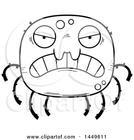 Clipart Graphic of a Cartoon Black and White Lineart Mad Spider Character Mascot - Royalty Free Vector Illustration by Cory Thoman