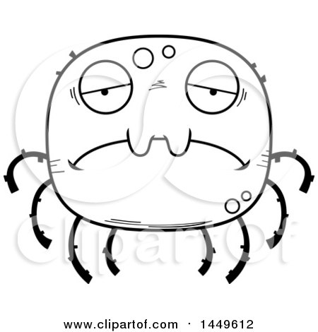 Clipart Graphic of a Cartoon Black and White Lineart Sad Spider Character Mascot - Royalty Free Vector Illustration by Cory Thoman