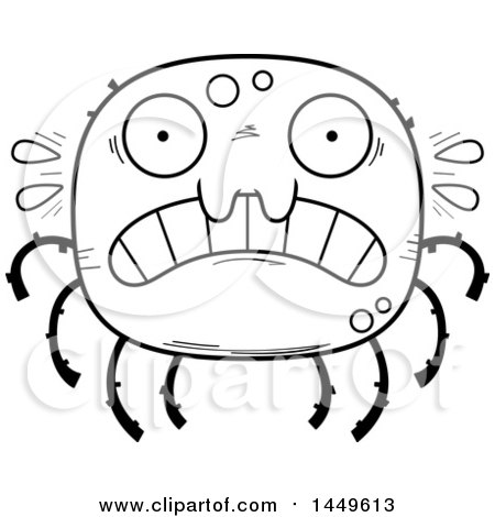 Clipart Graphic of a Cartoon Black and White Lineart Scared Spider Character Mascot - Royalty Free Vector Illustration by Cory Thoman