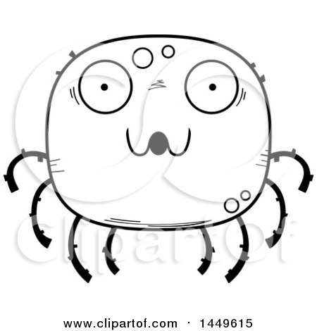Clipart Graphic of a Cartoon Black and White Lineart Surprised Spider Character Mascot - Royalty Free Vector Illustration by Cory Thoman