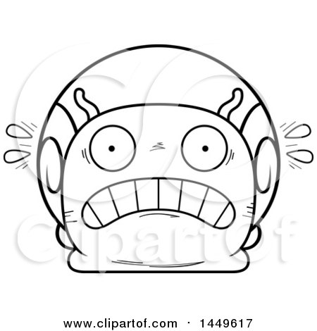 Clipart Graphic of a Cartoon Black and White Lineart Scared Snail Character Mascot - Royalty Free Vector Illustration by Cory Thoman