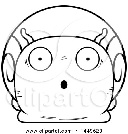 Clipart Graphic of a Cartoon Black and White Lineart Surprised Snail Character Mascot - Royalty Free Vector Illustration by Cory Thoman