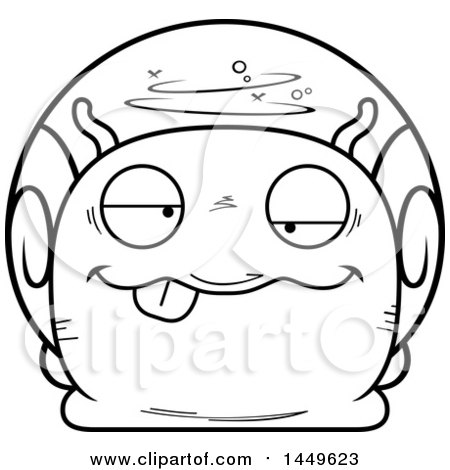 Clipart Graphic of a Cartoon Black and White Lineart Drunk Snail Character Mascot - Royalty Free Vector Illustration by Cory Thoman