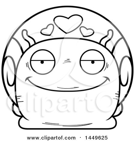 Clipart Graphic of a Cartoon Black and White Lineart Loving Snail Character Mascot - Royalty Free Vector Illustration by Cory Thoman