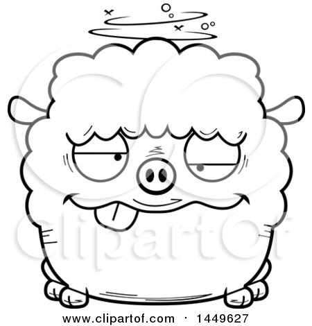 Clipart Graphic of a Cartoon Black and White Lineart Drunk Sheep Character Mascot - Royalty Free Vector Illustration by Cory Thoman