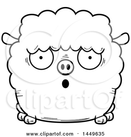 Clipart Graphic of a Cartoon Black and White Lineart Surprised Sheep Character Mascot - Royalty Free Vector Illustration by Cory Thoman