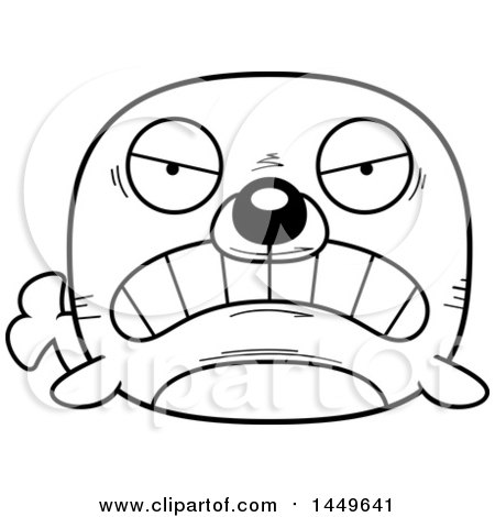 cartoon black and white lineart mad seal character mascot posters art prints
