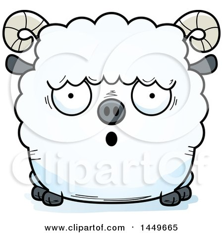 Clipart Graphic of a Cartoon Surprised Ram Sheep Character Mascot ...