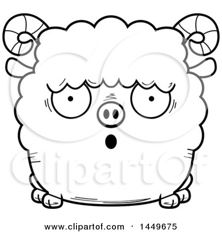 Clipart Graphic of a Cartoon Black and White Lineart Surprised Ram Sheep Character Mascot - Royalty Free Vector Illustration by Cory Thoman