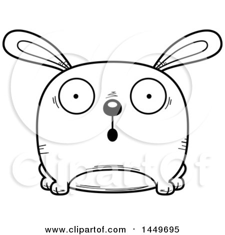 Clipart Graphic of a Cartoon Black and White Lineart Surprised Bunny Rabbit Hare Character Mascot - Royalty Free Vector Illustration by Cory Thoman