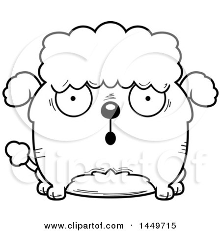 Clipart Graphic of a Cartoon Black and White Lineart Surprised Poodle Dog Character Mascot - Royalty Free Vector Illustration by Cory Thoman