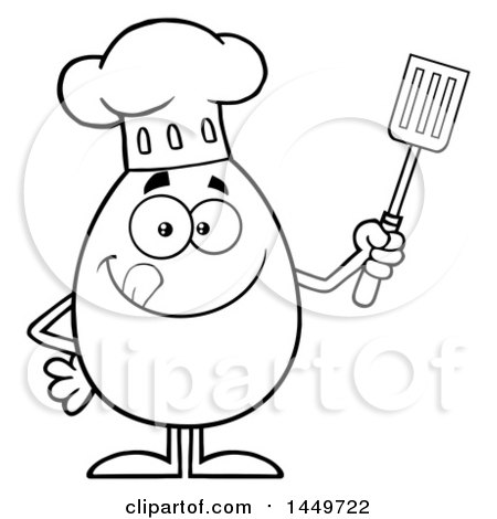 Clipart Graphic of a Cartoon Black and White Lineart Chef Egg Mascot Character Holding a Spatula - Royalty Free Vector Illustration by Hit Toon