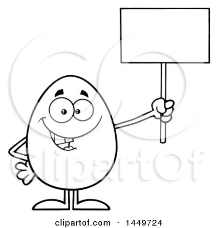 Clipart Graphic of a Cartoon Black and White Lineart Egg Mascot Character Holding up a Blank Sign - Royalty Free Vector Illustration by Hit Toon