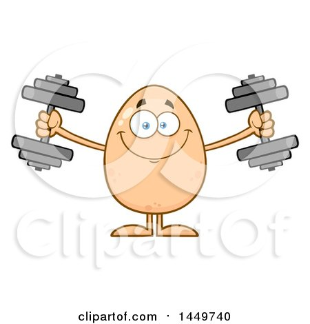 Clipart Graphic of a Cartoon Egg Mascot Character Working out with Dumbbells - Royalty Free Vector Illustration by Hit Toon