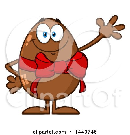 Clipart Graphic of a Cartoon Chocolate Easter Egg Mascot Character Waving - Royalty Free Vector Illustration by Hit Toon