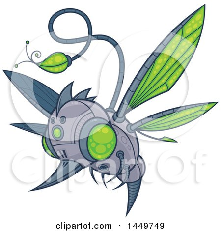 Clipart Graphic of a Cartoon Flying Robot Hummingbird or Bee - Royalty Free Vector Illustration by John Schwegel