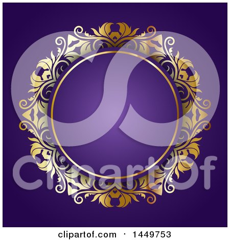 Clipart Graphic of a Golden Ornate Floral Round Frame on Purple - Royalty Free Vector Illustration by KJ Pargeter
