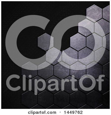 Clipart Graphic of a Black Carbon Fiber and Metal Hexagon Background - Royalty Free Illustration by KJ Pargeter