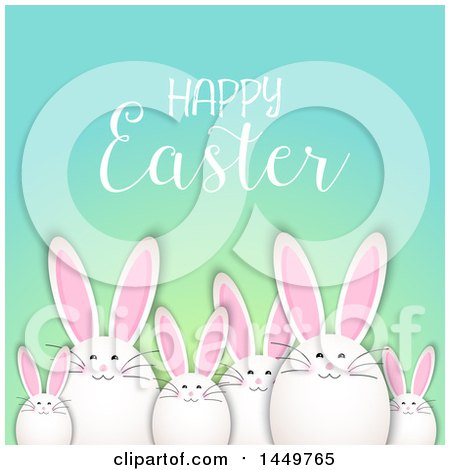 Clipart Graphic of a Egg Shaped Easter Bunnys Under a Greeting - Royalty Free Vector Illustration by KJ Pargeter