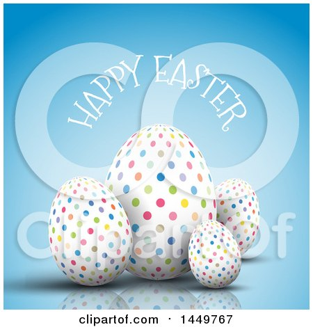 Clipart Graphic of Colorful Polka Dot Eggs with Happy Easter Text on Blue - Royalty Free Vector Illustration by KJ Pargeter