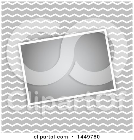 Clipart Graphic of a Gray and White Zig Zag Background with a Blank Picture - Royalty Free Vector Illustration by KJ Pargeter
