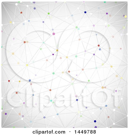 Clipart Graphic of a Background of a Network with Colorful Connecting Dots on Gray - Royalty Free Vector Illustration by KJ Pargeter