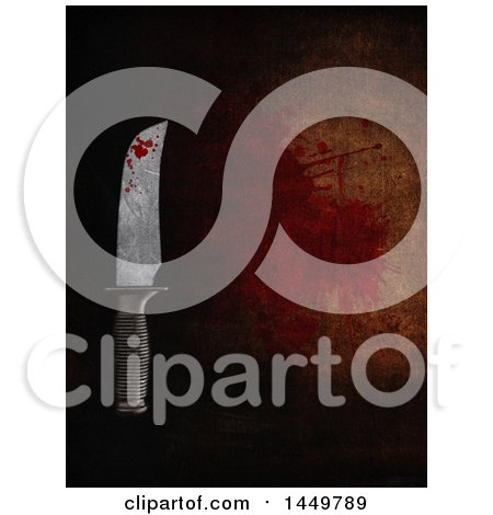 Clipart Graphic of a Bloody Knife over a Dark Background - Royalty Free Illustration by KJ Pargeter