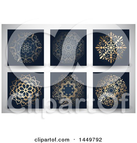 Clipart Graphic of Ornate Golden Mandala Designs on Black, over a Gray Background - Royalty Free Vector Illustration by KJ Pargeter