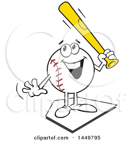 Clipart Graphic of a Cartoon Happy Baseball Mascot Holding a Bat and Standing on a Base - Royalty Free Vector Illustration by Johnny Sajem