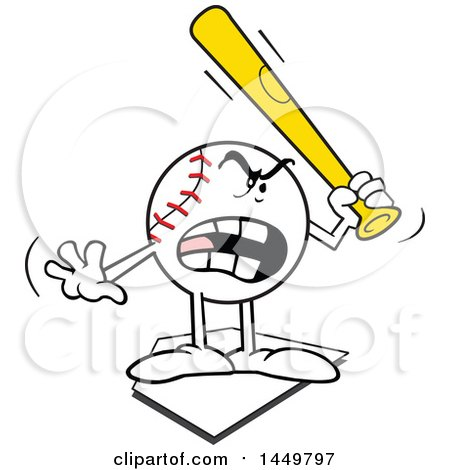 Clipart Graphic of a Cartoon Baseball Mascot Holding a Bat, Threatening and Standing on a Base - Royalty Free Vector Illustration by Johnny Sajem