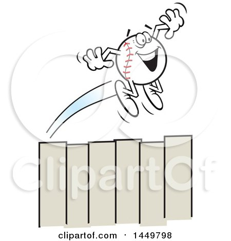 Clipart Graphic of a Cartoon Happy Homer Baseball Mascot Flying over a Fence - Royalty Free Vector Illustration by Johnny Sajem