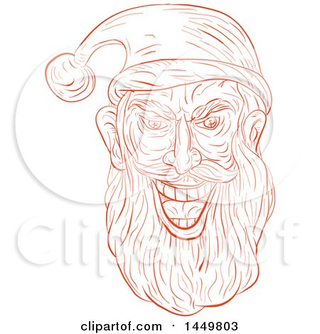 Clipart Graphic of a Sketched Drawing Styled Evil Santa Claus Face - Royalty Free Vector Illustration by patrimonio