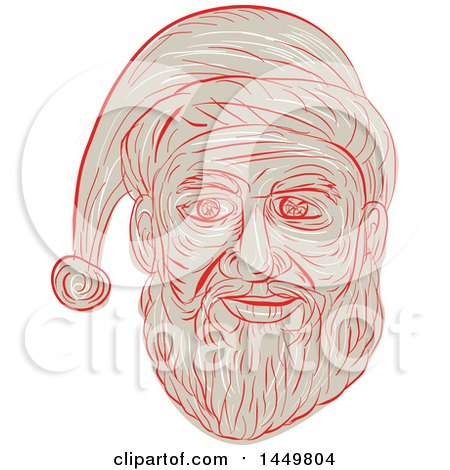 Clipart Graphic of a Sketched Drawing Styled Santa Claus Face - Royalty Free Vector Illustration by patrimonio