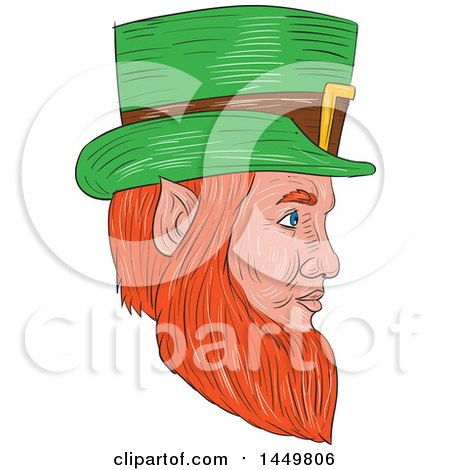 Clipart Graphic of a Sketched Drawing Styled Leprechaun Face Facing Right - Royalty Free Vector Illustration by patrimonio