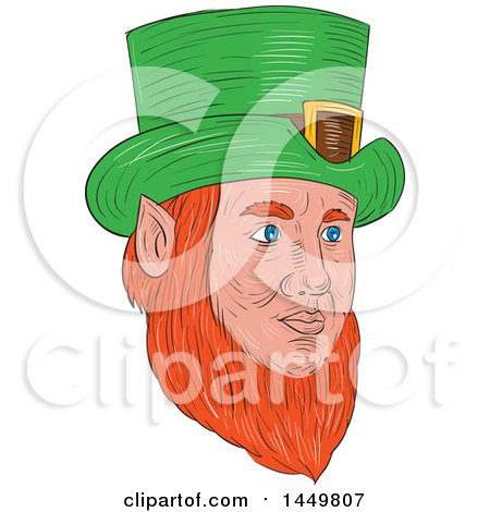 Clipart Graphic of a Sketched Drawing Styled Leprechaun Face Facing Partially Right - Royalty Free Vector Illustration by patrimonio