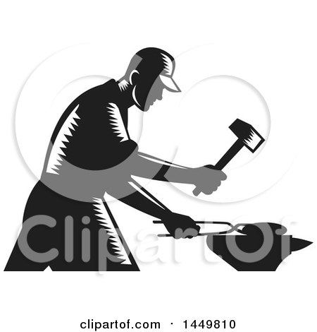 Clipart Graphic of a Retro Black and White Woodcut Blacksmith Worker Forging Iron - Royalty Free Vector Illustration by patrimonio