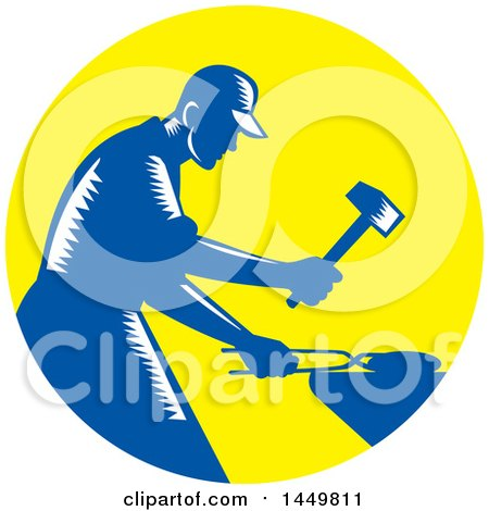 Clipart Graphic of a Retro Blue and White Woodcut Blacksmith Worker Forging Iron in a Yellow Circle - Royalty Free Vector Illustration by patrimonio
