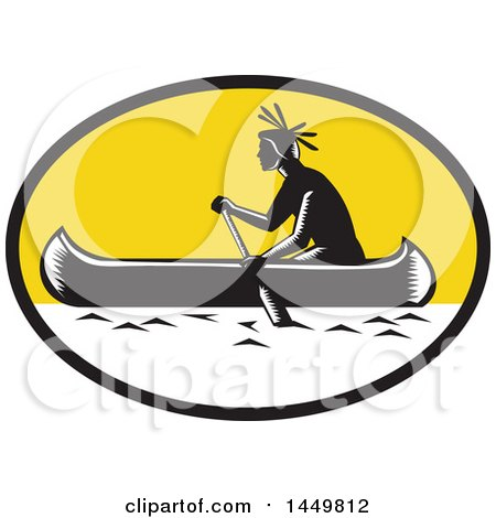 Clipart Graphic of a Retro Black and White Woodcut Native American Indian Paddling a Canoe in a Yellow Oval Oval - Royalty Free Vector Illustration by patrimonio