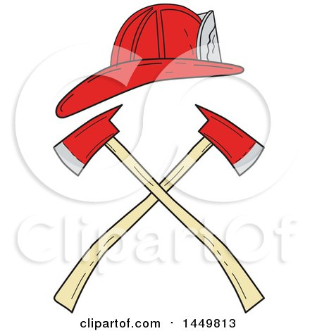 Clipart Graphic of a Sketched Drawing Styled Fireman Helmet over Crossed Axes - Royalty Free Vector Illustration by patrimonio