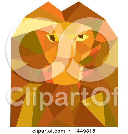 Clipart Graphic of a Geometric Low Polygon Styled Male Lion Head - Royalty Free Vector Illustration by patrimonio