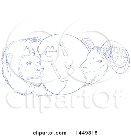 Clipart Graphic of a Sketched Blue and White Drawing Styled Globe of the Middle East with a Lion and Goat - Royalty Free Vector Illustration by patrimonio