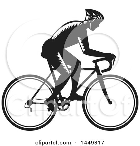 Clipart Graphic of a Retro Black and White Woodcut Male Cyclist Riding a Bicycle - Royalty Free Vector Illustration by patrimonio